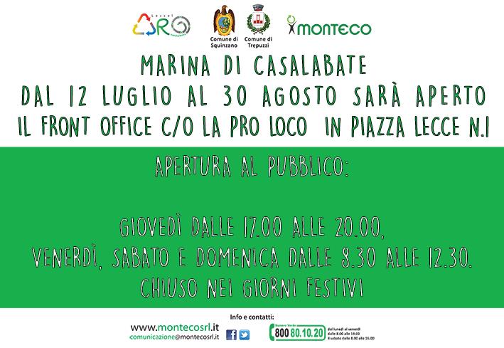 Marina di Casalabate: apertura Front Office c/o la Pro Loco in Piazza Lecce n.1