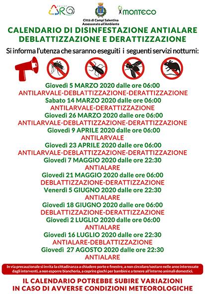 Campi Salentina. Calendario disinfestazioni antialare, antilarvale, derattizzazione e deblattizzazione