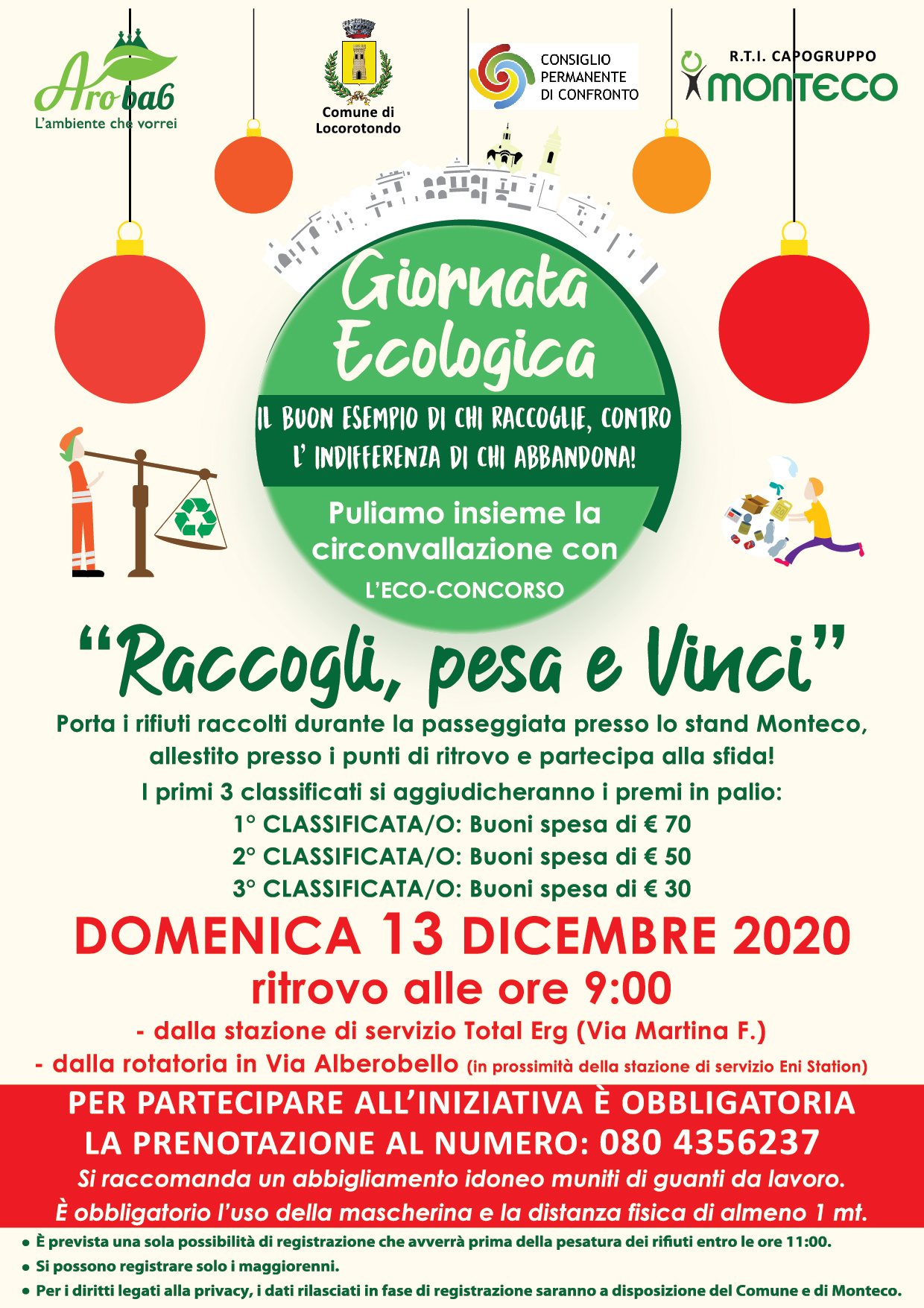 LOCOROTONDO: Rinviata a domenica 13 dicembre la Giornata ecologica di pulizia della circonvallazione