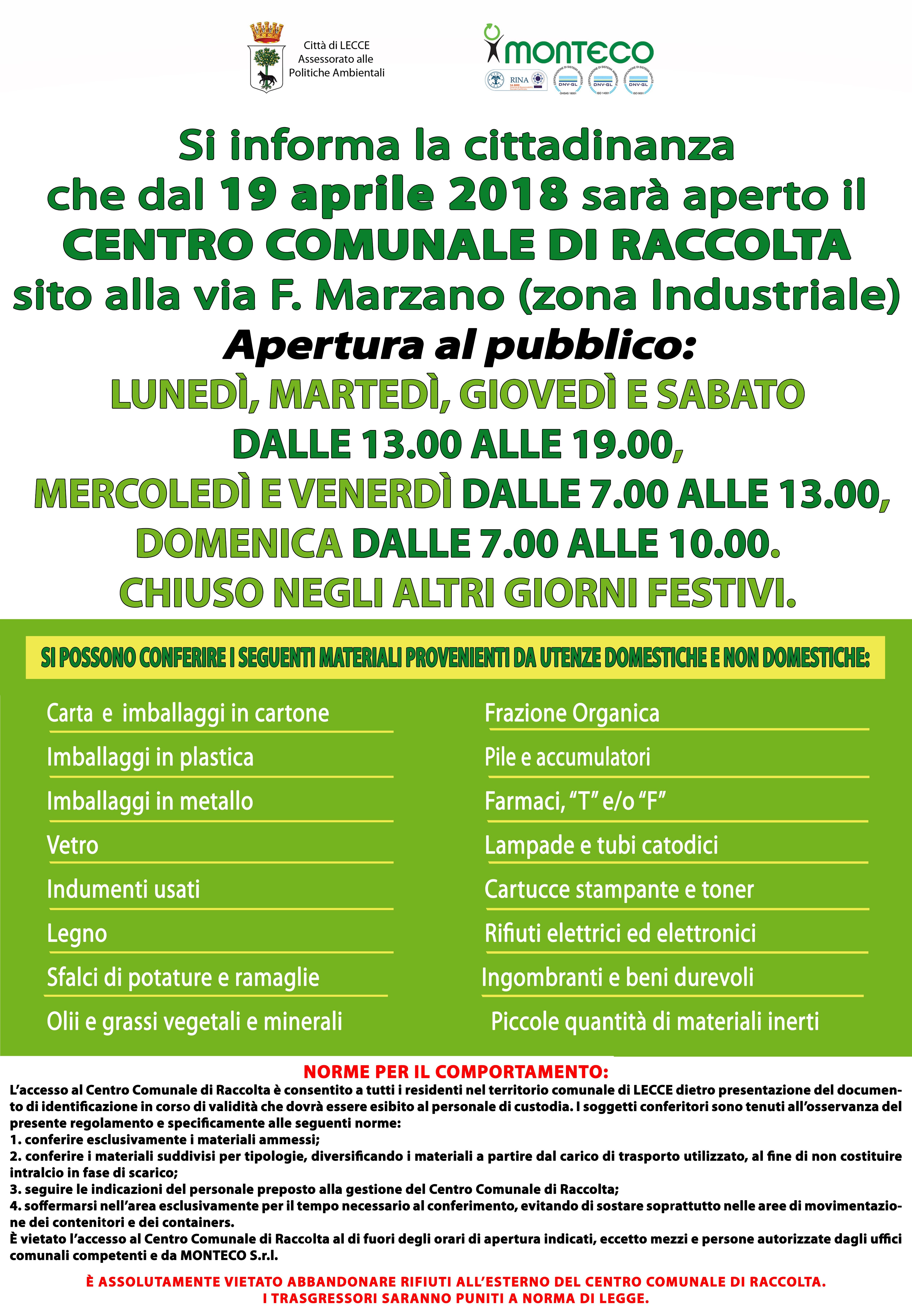 Lecce: apertura nuovo Centro Comunale di Raccolta in Zona Industriale