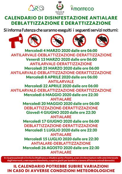 Trepuzzi. Calendario disinfestazioni antialare, antilarvale, derattizzazione e deblattizzazione